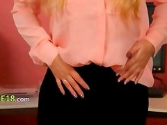 Blonde secretary in stockings tease