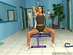 Missy Nicole slams her pussy with a dildo in a gym