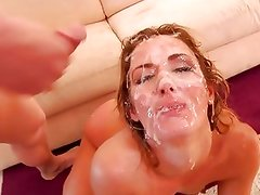 Sheena Shaw gets her face drenched with warm jizz