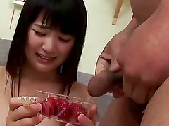 Tsuna Kimura eats vitamin-enriched strawberries