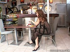 Passionate Judith Fox having wild anal sex in a bar
