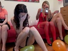 Amazing whorable brunettes organize a great and hot orgy party