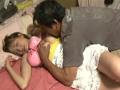 Kinky daddy widens wet pussy of Japanese teen Seira Takahashi with his fingers