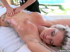 Deadra Dee gets her body massaged and her pussy fucked hard