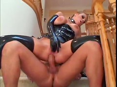 Kinky latex lingerie on a fuck slut