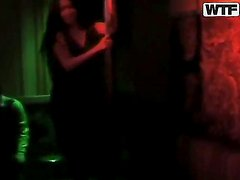 Lusty and hot babe Natasha enjoys in teasing while dancing around the pole in the bar