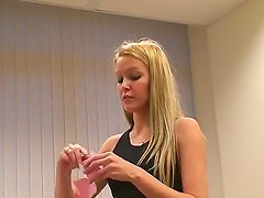 Gorgeous blonde teen Sophie Moone enjoys in opening her gifts while waring a sexy tight dress
