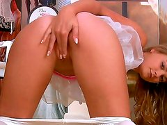 Cute and passionate chick named Heidi C takes off her clothes and masturbates