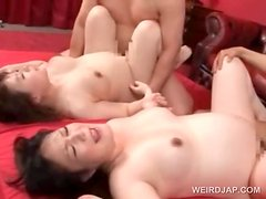 Naked pregnant asians fucked deep in foursome