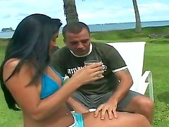 Outdoor action with a lucky guy named Anselmo and his gorgeous bitch Mariana
