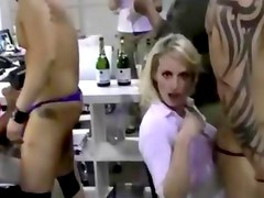 CFNM slut sucking dick at this real party