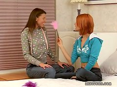 Ally N. and Galaxy enjoy toying each other's sweet assholes
