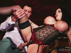 Fake knockers on a bitch in lingerie getting fucked