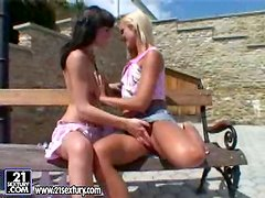 Lena Frank and Sandy enjoy toying each other's vags outdoors