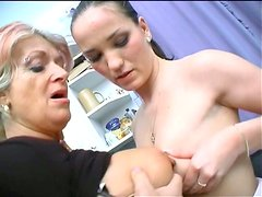 Divine babe Christina Silvia strokes ruined pussy of spoiled granny with tongue