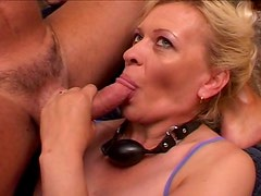 Lewd granny Donna makes out with two horny dudes