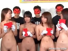 Asian teen girls strip naked for a sex competition