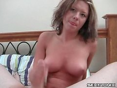 Titjob from a beauty with nice perky boobs