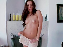 Naughty young looking brunette babe Grace Glam with natural boobs