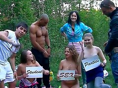 Albina,Ava,Taylor and Zoe are on adventure in a forests, they enjoy group sex feeling hot.