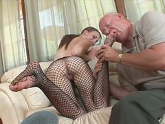 Old pervert enjoys a footjob performed by Jordan Minor