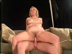 Hairy smiling mature loves younger dick