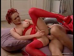 Red corset is sexy on this anal girl