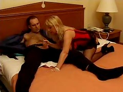 Milf in corset and stockings has sex