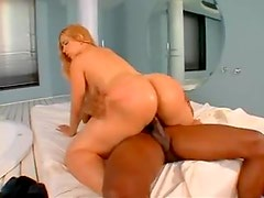Black man lubes her up and fucks her hard
