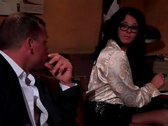 Secretary in glasses gives a good blowjob
