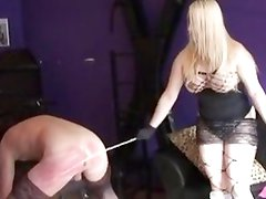 Mistress beats his ass red raw