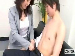 Subtitle CFNM Japanese office cougars blowjob threesome