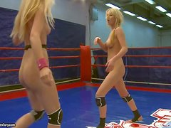 Attractive young slender naked blonde babe Antonia has arousing fight