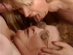 Horny stud makes love to a fat granny and beautiful blonde