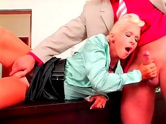 69 on the desk with his satin secretary