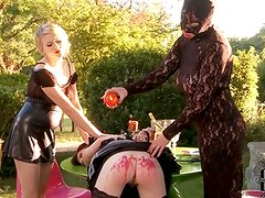 Clumsy maid Samantha Bentley soon learns what comes next from her furious mistresses in our continuation of A scenario from last Thursday 7/5/12! Immobilized by A spreader bar at her ankles, S