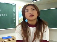 Saucy Japanese girl Saya Hyozaki is playing with teacher in a lecture room