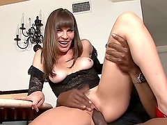 Hot white chic Dana DeArmond is being brutally raped by an extra big and lack cock, she likes