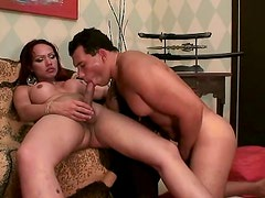 Exotic shemale chick Sachenka gets her boobs and cock licked