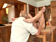 Perverse daddy receive blowjob from young hussy Melissa Julianna